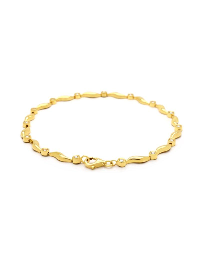 18ct Gold Diamond Bracelet - 18cm
