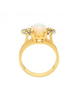 14K Gold Vintage Opal & Diamond Cocktail Ring