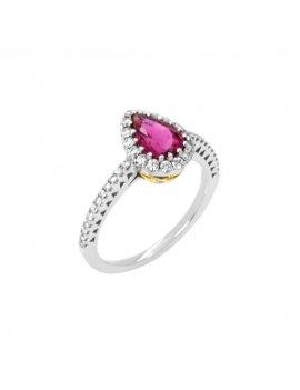 18ct White Gold Tourmaline & Diamond Ring