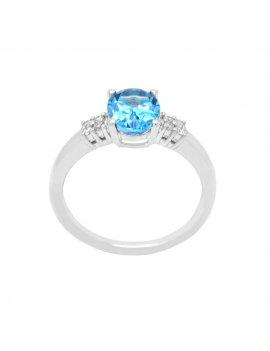 9ct White Gold Diamond Blue Topaz Ring