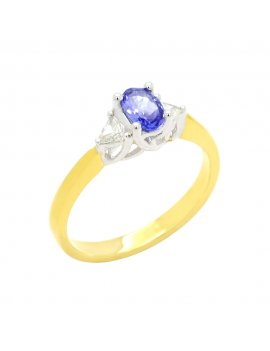18ct Yellow Gold Tanzanite & Diamond Ring