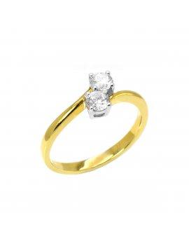 18ct Yellow Gold Cross-over Diamond Ring