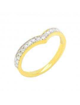 18ct Yellow Gold Wishbone Half Eternity Diamond Ring