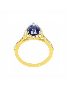 18ct Gold Diamond Sapphire Pear Shaped Halo Ring