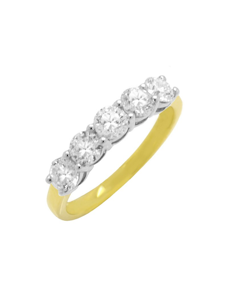 18ct Gold Diamond (0.96ct) Five Stone Eternity Ring