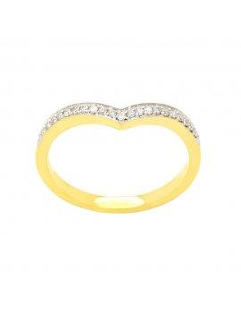 18ct Yellow Gold Diamond Wishbone Half Eternity Ring
