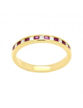 18ct Gold Ruby & Diamond Half Eternity Ring