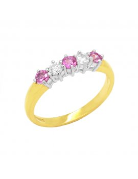 18ct Yellow Gold Pink Sapphire & Diamond Eternity Ring