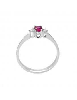 18ct White Gold Ruby & Diamond Ring