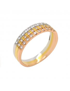 18ct Three Tone Gold Diamond Half Eternity Ring