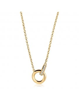 Sif Jakobs Necklace Itri - 18K Gold Plated With White Zirconia