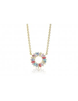 Sif Jakobs Necklace Antella Circolo - 18K Gold Plated With Multicoloured Zirconia
