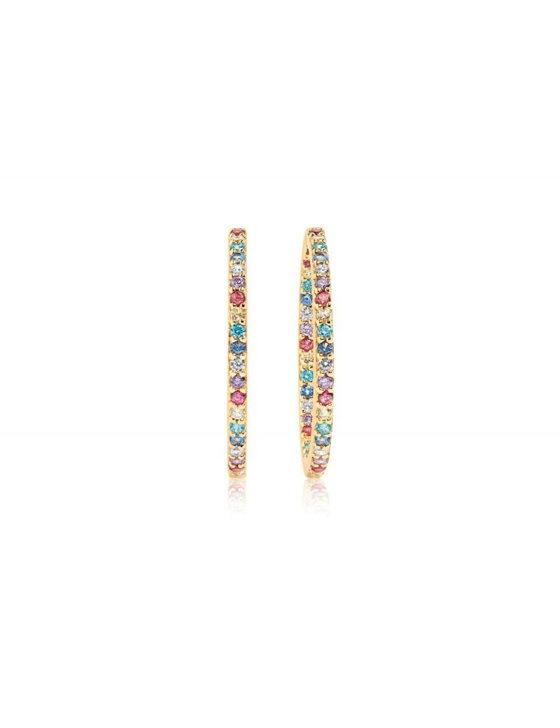 Sif Jakobs Earrings Bovalino - 18K Gold Plated With Multicoloured Zirconia