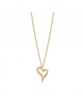 Sif Jakobs Necklace Valentine - 18K Gold Plated With White Zirconia