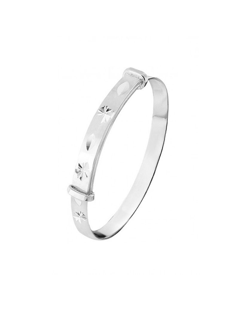 Children's Silver Expandable Diamond Cut Baby Bangle