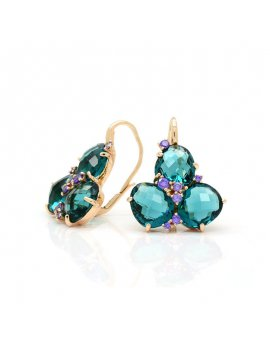 Silver Rose Gold Plated London Blue Cubic Zirconia Earrings