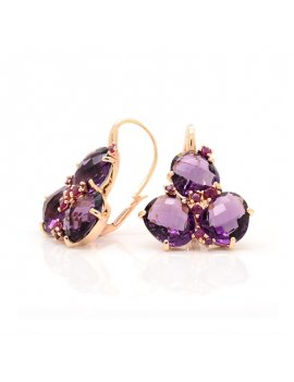 Silver Rose Gold Plated Purple Cubic Zirconia Earrings