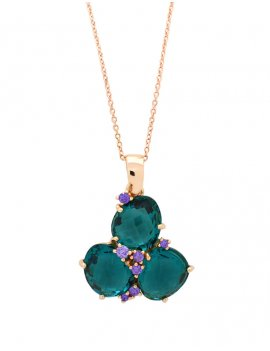 Silver Rose Gold Plated London Blue Cubic Zirconia Necklace