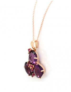 Silver Rose Gold Plated Purple Cubic Zirconia Necklace