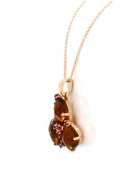 Silver Rose Gold Plated Smoky Cubic Zirconia Necklace