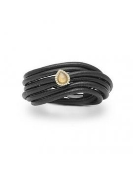 STORY by Kranz & Ziegler Black Leather Double Row 3-Wrap Starter Bracelet