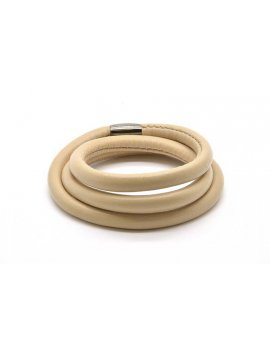 STORY by Kranz & Ziegler Cream Leather 3-Wrap Bracelet