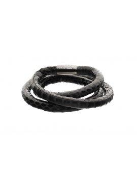 STORY by Kranz & Ziegler Black Snakeskin 3-Wrap Bracelet