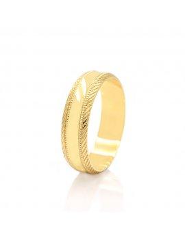 9ct Yellow Gold Concave Diamond Cut 5mm Wedding Ring