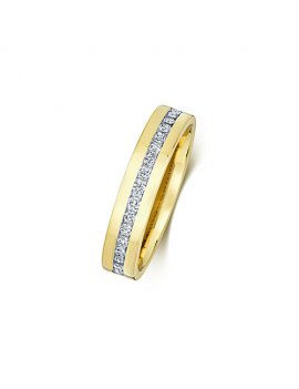 9ct Yellow Gold Diamond Set 4.2mm Ring
