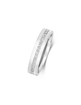 9ct White Gold Diamond Set 4.2mm Ring