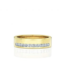 9ct Yellow Gold Diamond Set 5.1mm Ring