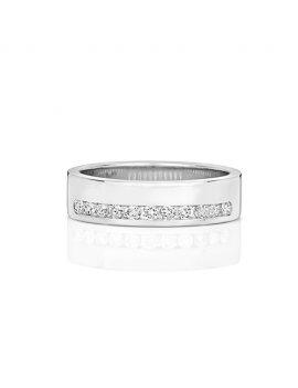 9ct White Gold Diamond Set 5.1mm Ring