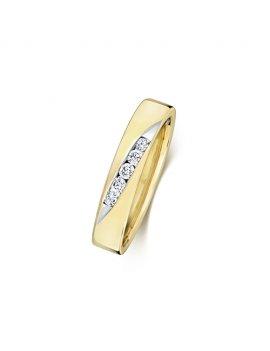 9ct Yellow Gold Crossover Diamond Set 4.0mm Wedding Ring