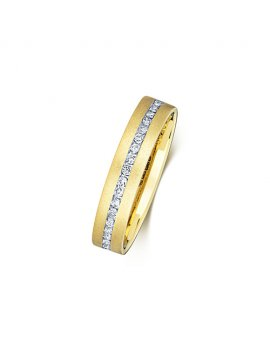 9ct Yellow Gold Diamond Set 4.0mm Ring