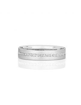9ct White Gold Diamond Set 4.0mm Ring