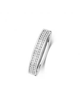 9ct White Gold Double Row Diamond Set 3.6mm Ring